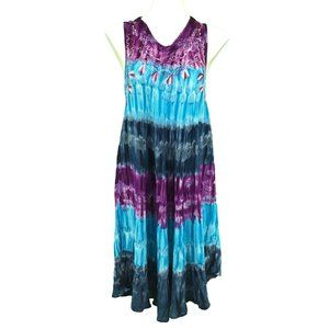 Embroidered Tie Dye Dress Free Size Blue